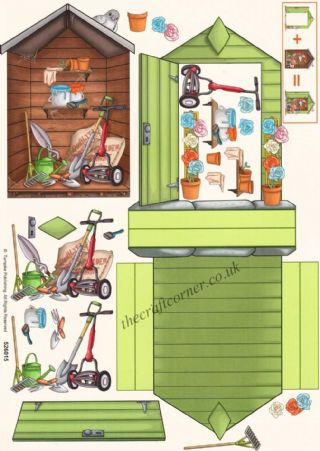 Garden Shed Stand Up 3d Decoupage Sheet
